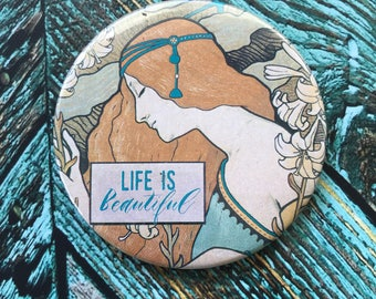 Life is Beautiful Purse Mirror