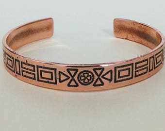 "Engraved bracelet. Engraved jewelry. Handmade copper cuff. "" Handmade bracelet. Etched copper cuff. Etched copper bracelet."