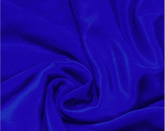 "Pure Natural Mulberry Silk Sample/ Yards/Meters Pure Silk Fabric Crepe De Chine 45"" wide 14momme Electric blue color crepe-6-14mmm"
