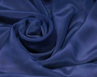 "Sample/ Yards/Meters 100% Pure Silk Fabric Crepe De Chine 55"" /140cm wide 14momme Material Sodalite blue Color crepe5W-14mmW"