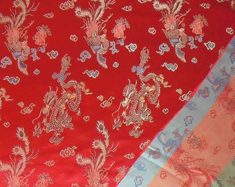 """36"""" wide Chinese brocade dragaon on Red shiny satin fabric faux silk material embroidered by the  Yards BR 1001"""