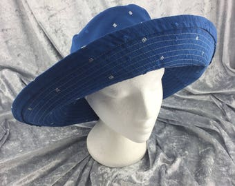 Blue sun hat, blue cotton sun hat, blue hat