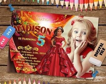 ON SALE 30% Elena of Avalor Invitation. Elena of Avalor Birthday Party Invitation. Elena of Avalor Invite Printable.