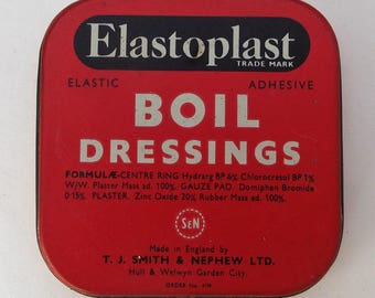 Vintage Elastoplast Boil Dressings w/Original Contents Tin Chemist Medical Collectables 1950s