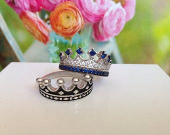 crown ring,silver crown ring,queen ring,king ring,crown ring set