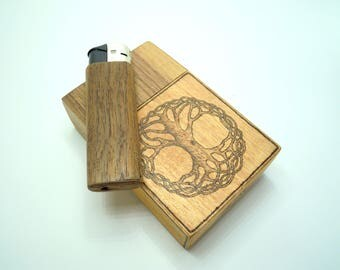 Wooden cigarette box with burned in tree of life, celtic knot + refillable wooden lighter