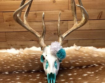 Real Whitetail Buck European Skull Mount- Painted Underneath & Embellished w/ Flowers
