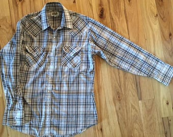 Vintage Ely Cattleman Plaid Western Shirt