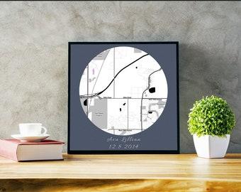 Map art - New Baby Gift - Baby announcement - Baby Shower - Custom Map Art