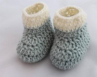 Mint Green with White Stripe Newborn Booties - 100% Wool