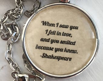 Shakespeare quote necklace/ literary necklace/fell in love
