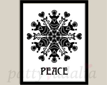 Peace. Love. Black and White. Art Print. Black and White Home Decor. Wall Art. Decorating. Print. Instant Download.