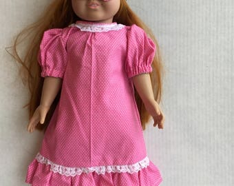 "Nightgown with eye mask. Fits 18"" dolls such as American girl."