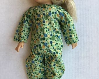 "2 piece cotton pajamas fit 18""doll such as American girl."