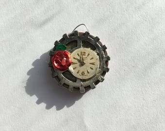Cog and clock pendant with rose detail