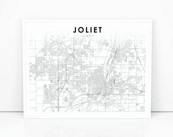 Joliet Map Etsy - Joliet map