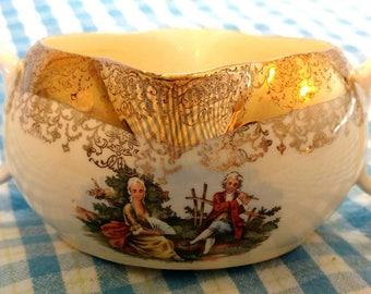 Crest-O-Gold Sabin / Gravy Boat / 22K Gold / Colonial Couple / Creamer / 1950's / Bridal Shower / High Tea / Fancy Dinnerware / Classical