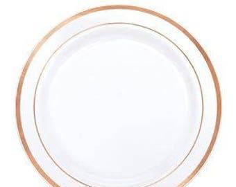 Premium Plastic Dessert Plates - 19cm , Rose Gold Tableware,  Rose Gold Decorations, Rose Gold Plates