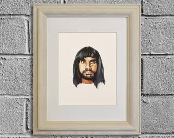 AZIZ ANSARI Print, Celebrity Portrait, TV Show Art, Parks and Recreation, Master of None, Human Giant, The Illusionators, Gouache Painting