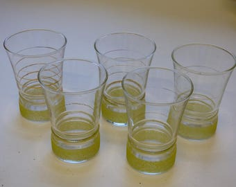 5 sugar-frosted vintage glasses, French vintage glasses, yellow frosted glasses