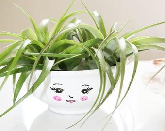Cute face air plant planter / succulent planter / small plant planter / Jewelry holder