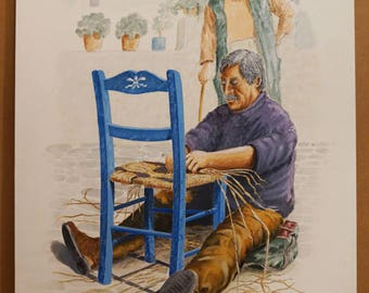 PROFESSIONS of THE PAST, Chair Repairer, (Aquarelle) 50x70cm, 2017