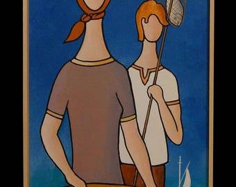 """GREEK LIFE, """"Woman & Boy"""", 25x100cm, Mixed Art"""
