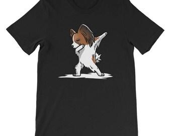 Cute Dabbing Papillon T-Shirt Funny Dog Gift