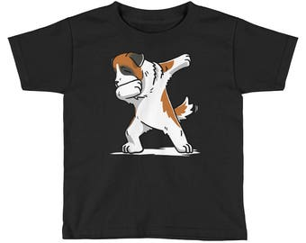 Funny Dabbing Saint Bernard Kids Short Sleeve T-Shirt