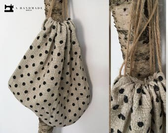 Light Backpack, Tote Bag, Decor Bag, Natural Material, Dots