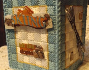 Skiing - Skis - Slopes   /  Tissue box cover - Handmade - Plastic Canvas - Boutique Size