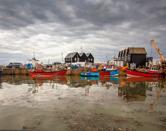 Whitstable harbour, a photograph printed on canvas, or framed print size A1, A2 or A3