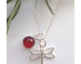 Sterling silver and amber dragonfly necklace - Outlander inspired, amber jewellery, dragonflies, dragonfly jewellery