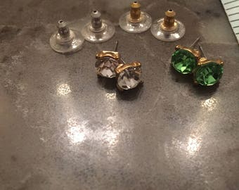Kirks Folly  Perfect  PIXIE CRYSTAL Pierced Earrings  Goldtone /Green and Clear              free if you buy at  20 USD