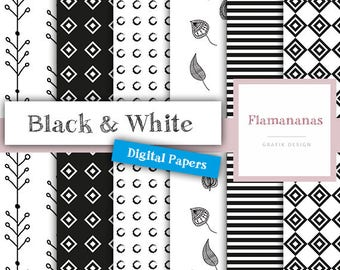 Digital Paper Black & White, DIN A4 PDF + JPG (300 dpi) instant download!
