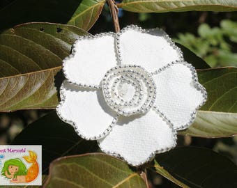 Beaded White Flower Hair Clip // Hair Accessory // Hair Bow // Flower Bow // Flower Barrette // Fancy Bow