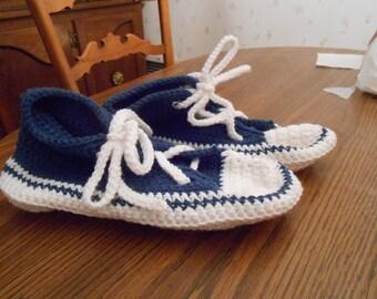 New HANDMADE Crocheted Navy Blue and White Sneaker Slipper (Size 10.5)