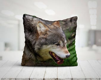 Beautiful Wolf Pillow, 18x18 Throw Pillow with Wolf, Wolf Cushion, Wolf Decor, Wolf Gift, Wolf Decorative Pillow