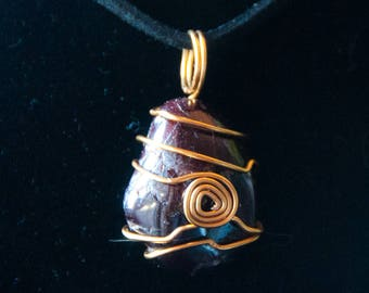Garnet Hand-Wrapped in Brass