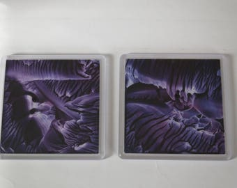 Encaustic Wax Art Painting Coaster Set