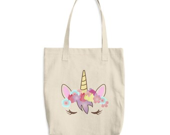 unicorn tote bag, unicorn gift, cotton tote bag, unicorn bag, tote bag, natural, unicorn face, unicorn gift, unicorn lover, unicorn party