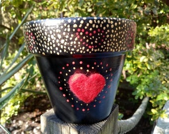 Love heart mother's day pot