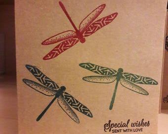 Dragonfly card. Handmade dragonflies  greeting card, birthday card, anniversary or Valentine card.