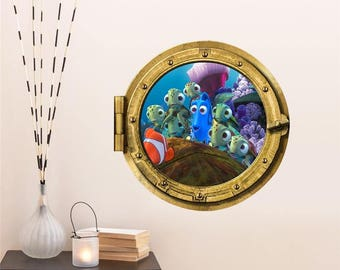 Submarine Porthole Wall Stickers Fantastic Finding Nemo Decoration Coral  Shark Fish Scuttle Animal Home Decals Kid