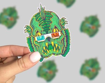 Creature Feature Sticker, Horror Laptop Sticker, Horror Car Sticker, Monster Sticker, Retro Sticker