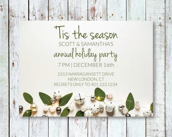 Tis the Season Holiday Party Invitations | Editable PDF Template | Printable
