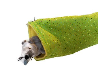 Rat Hammock- Rat Cage Accessories - Yellow Green Snuggle Tunnel Hammock  - Sugar Glider Hammock