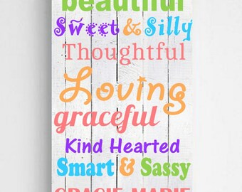 Personalized Colorful Kids Canvas Sign - Personalized Kids Signs - Girls Wall Decor - Kids Room Decor - Girls Room Signs - Kids Gifts