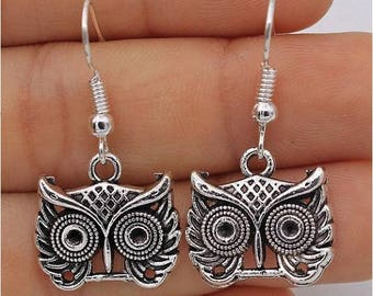 Vintage earrings, Owl earrings, Animal earrings, Retro owl, Silver earrings, Dangle earrings, Womens earrings, Cute earrings, Gift, G42
