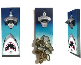 Wall OR Magnetic Mount Jaws Bottle Opener with Magnetic Cap Catcher - Jaws Great White Shark - Hand painted - Indoor/Outdoor